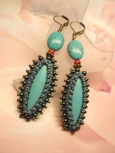 Turquoise Blue and Seed Beads Dangle Antique by dharajewelry, $32.00