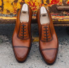 SAINT CRISPIN'S - straight toe box oxford in burnished chestnut