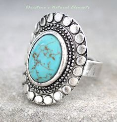 Turquoise Stone Oval Ring & Silver Vintage Ring by OneStopRingShop, $18.99