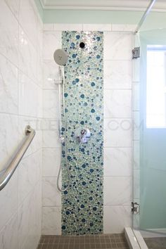 Iridescent Pebble Glass Mosaic - Bathroom Installation