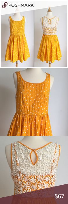 ⭐️Anthropologie⭐️ Polka Dot Dress Dress has only been worn once but is perfect like new condition. It has a side zipper enclosure and is fully lined. The fabric content is 97% cotton and 3% spandex. The bus to measurement is approximately 18 inches across lying flat, and the waist measurement is approximately 16 inches across lying flat. The length of the dress is approximately 36 inches. Anthropologie Dresses Midi