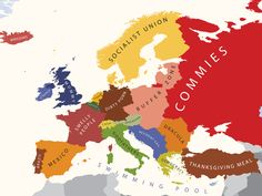 Yanko Tsvetkov is a graphic designer who has an ingenious way of poking fun at transcultural prejudices. Take a look at this map of Europe as seen through the eyes of an American Funny Maps, It's Funny, That's Hilarious, Mexico People, European Map, European Countries, Entertainment, Blog Deco, Geography