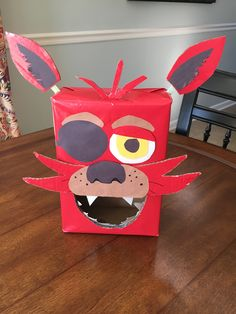 'Five Nights at Freddy's' box. We chose the Foxy character for our Valentine's Day box for a class party. We love everything 'Five Nights at Freddy's!'