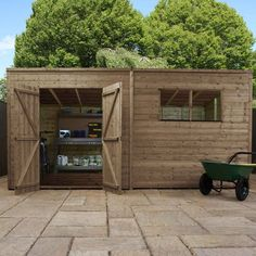 Buy Waltons 14 x 6 Pressure Treated Shiplap Double Door Pent Shed at Waltons Garden Buildings. UK made sheds, cabins and more. Free, fast delivery to most of UK Backyard Sheds, Outdoor Sheds, Shiplap Cladding, Garden Storage Shed, Storage Sheds, Metal Shed, Large Sheds, Free Shed Plans, Wooden Sheds