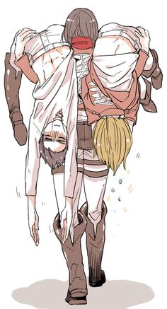 Mikasa in a nutshell. Always carrying for those two.