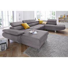 Canapé d'angle panoramique tissu, têtières réglables, suspensions, angle fixe