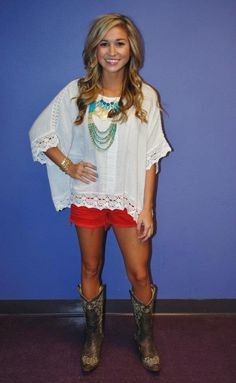 oversized white shirt w coral/red...very cute outfit!