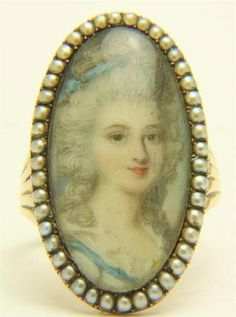 A Wonderful Georgian Portrait Miniature Ring Circa 1790's