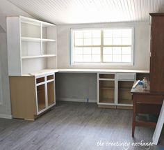 Inexpensive Ways to Create Built In Shelving stock cabinets and standard size plywood counters