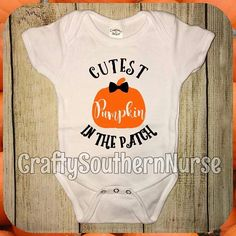 Cutest Pumpkin In The Patch Short Sleeve Infant Bodysuit Creeper Outfit for Little Baby Boy or Newborn Fall Halloween Autumn Festive Bow Tie Onesie by CraftySouthernNurse