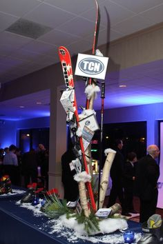 Ski, Skiing Theme Bar Mitzvah Centerpieces by The Event Of a Lifetime - mazelmoments.com