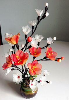 Handmade Nylon Flower Arrangement by LiYunFlora on Etsy Nylon Flowers, Cloth Flowers, Satin Flowers, Diy Flowers, Fabric Flowers, Colorful Flowers, Paper Flower Centerpieces, Spring Flower Arrangements, Flower Decorations