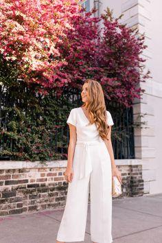 Gal Meets Glam This White Jumpsuit Is So Fresh For Spring Club Monaco Jumpsuit, Nicola Bathie Earrings, Club Monaco Heels, Pamela Munson Clutch