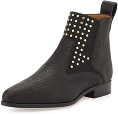$447, Black Studded Leather Chelsea Boots: Chloé Chloe Studded Leather Chelsea Boot Black. Sold by Neiman Marcus.