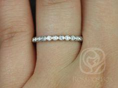 Petite Bubbles 14kt White Gold Bezel Round Diamonds by RosadosBox