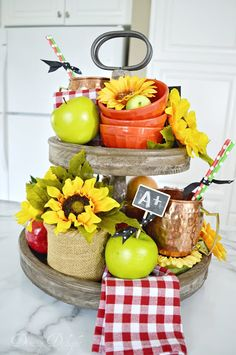 Dining Delight: Tiered Tray with Late Summer Decor. Sunflower apples Dining Delight: Tiered Tray with Late Summer Decor. Wooden Crates Stacked, Vintage Wooden Crates, Home Decor Baskets, Tray Decor, Kmart Decor, Seasonal Decor, Fall Decor, Galvanized Tray, Tiered Stand