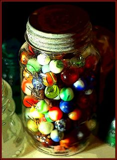 mason jar of marbles
