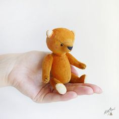 Meet the orange mini bear from the Rainbow collection.    The bear measures about 3 inches seated. He is made of orange short pile cashmere