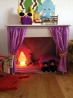 hyggehule mushroom lamp kids room - great spot idea for an empty decorative fireplace.