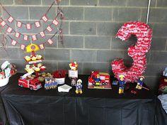 They call me Krafty Karen: Celebrating the big Fireman Party, Fireman Sam, Boy Birthday, Birthday Parties, Toddler Activities, Birthday Candles, Party Time, Birthdays, Banner