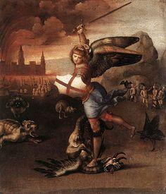 San Miguel y el Dragón  Fecha: 1503  Movimiento: Renacimiento  Técnica: Óleo sobre tabla  Museo: Museo del Louvre  Ubicación: París, Francia