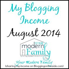 blogging income August 2014...for a side job this is amazing.