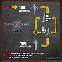 Entraînement CrossFit du 20/01/2014 est issu de la finale de la Battle of London de ce week-end : faire for time : 100 double-unders 3 rounds : 10 handstand push-ups, 4x10m slud pull 100 double-unders le tout en moins de 12 minutes ! postez votre temps/impression : http://www.litobox.com/wod-20-01-2014