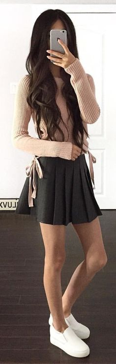 #winter #outfits brown knit sweater with black skirt. Pic by @withluvxina.