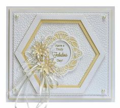 Birthday Thank You Cards, Birthday Cards For Women, Sue Wilson, Fancy Fold Cards, Folded Cards, Hexagon Cards, Tattered Lace Cards, Spellbinders Cards, Shaped Cards