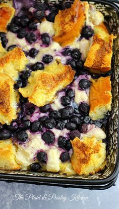 Overnight Blueberry Cheesecake French Toast! Best start to your day. ~ The Plaid & Paisley Kitchen #overnightfrenchtoast, #blueberrycheesecake
