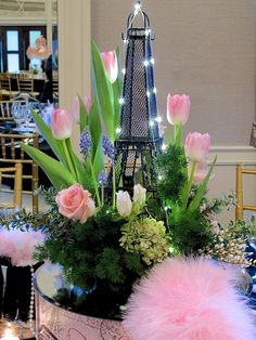 """""""April in Paris"""" centerpieces   French themed table decor for a special event   Each centerpiece is different   #Designthusiasm"""