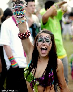 Raver girl with face paint.
