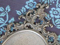 Large Ornate Oval Framed Mirror Vintage