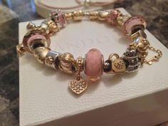 pink and gold Pandora bracelet