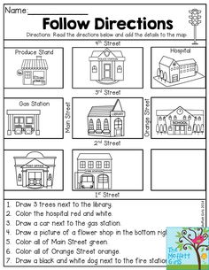 Follow Directions- Read the directions and add the details to the map. Fun…
