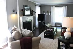 74 Small Living Room Design Ideas   Gray paint colors, White mantel ...