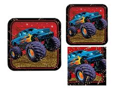 Mudslinger 16 Guest Monster Truck Birthday Party Bundle - 3 Items: Dinner Plates, Dessert Plates & Napkins, http://www.amazon.com/dp/B00QQJ5JFU/ref=cm_sw_r_pi_awdm_7xENvb09162SV