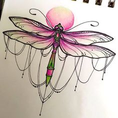 Pink Girly Dragonfly Tattoo Design