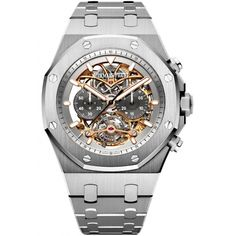 Audemars Piguet Royal Oak Tourbillon Chronograph Openworked in titanium - the watch's manufacture movement, manual-winding Caliber consists of 299 parts, including 28 jewels, and has a frequency of vph and a power reserve of 72 hours. Audemars Piguet Price, Audemars Piguet Royal Oak, Patek Philippe, Tag Heuer, Cool Watches, Rolex Watches, Casual Watches, Devon, Omega