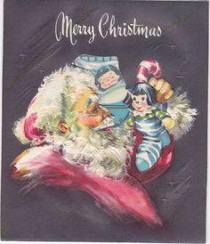 Vintage Christmas Card Jolly Santa Stocking Gifts Dreaming Girl Old Christmas, Vintage Christmas Cards, Santa Stocking, Buddy The Elf, Christmas Illustration, Santa Baby, Vintage Greeting Cards, Stockings, Gifts