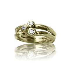 INFINITY GOLD 18kt Yellow gold, 3 diamond cluster wedding band on Etsy, $1,300.00