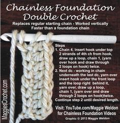 Chainless Foundation Double Crochet HowTo Video MaggieWeldon | Maggie's Crochet Blog
