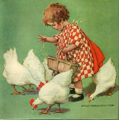Vintage Girl Feeding Hens by Jessie Willcox Smith Ceramic Tile A little girl feeding chickens by Jessie Willcox Smith. Artwork designed by Vintage Illustration Oop North, United Kingdom Vintage Advertisements, Vintage Ads, Vintage Posters, Vintage Prints, Vintage Ephemera, Vintage Metal, Old Illustrations, Chicken Art, Chicken Painting