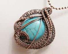 Oxidized Copper Wire Woven Turquoise Magnesite Pendant Necklace