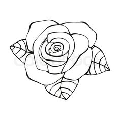 Stock vector of 'Rose in tattoo style, hand drawn flower, vector illustration'