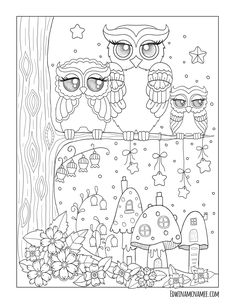 Ornamental Owls More than 25 fanciful full-page illustrations depict the cutest of owls with big glassy eyes. Owls are Beautiful for coloring because there's just so much creativity that you can inject when filling them with colors  Each design is printed on both white and black backgrounds and is available to purchase from AMAZON and ETSY