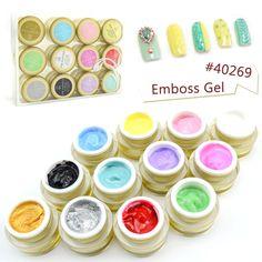 #40269 Professional Nail Art  Beauty  12 Colors 3D UV/LED Emboss Gel 3D Color Gel