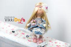 Текстильная кукла, интерьерная кукла, кукла ручной работы, блондинка, детство, игрушка в подарок, подарок, игрушка by VikkiDoLis on Etsy