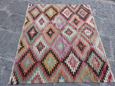 Anatolië Vintage Zizzak Kilim, kleurrijke prachtige Kilim tapijt