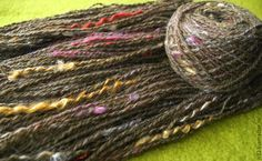 hand spinning. The wool, dyed curls, dog hair